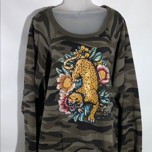Torrid Camo Tiger Sweatshirt Embroidered Metallic
